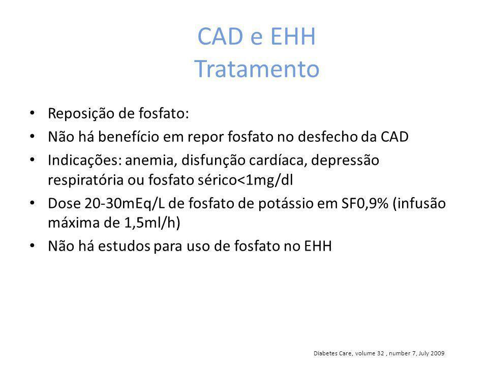 CAD e EHH Tratamento Reposição de fosfato: Não há benefício em repor fosfato no desfecho da CAD Indicações: anemia, disfunção cardíaca, depressão resp