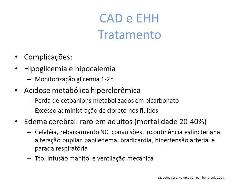 CAD e EHH Tratamento Complicações: Hipoglicemia e hipocalemia – Monitorização glicemia 1-2h Acidose metabólica hiperclorêmica – Perda de cetoanions me