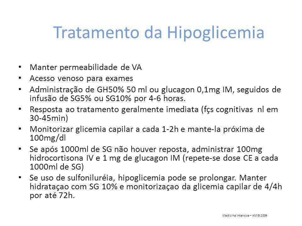Tratamento da Hipoglicemia Manter permeabilidade de VA Acesso venoso para exames Administração de GH50% 50 ml ou glucagon 0,1mg IM, seguidos de infusão de SG5% ou SG10% por 4-6 horas.