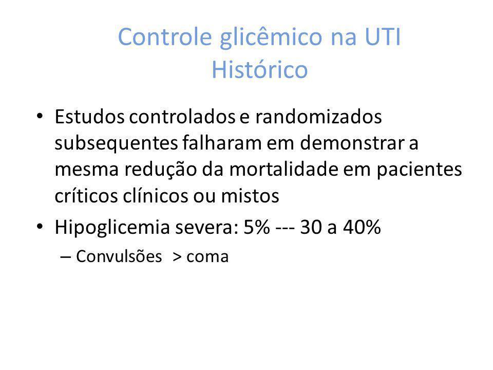Controle glicêmico na UTI NICE-SUGAR ou Leuven 1.Normoglicemia foi comparada com alvos glicêmicos distintos 2.Medidas da glicemia e equipes de enfermagem diferentes 3.Análise pela gasometria arterial, manutenção do K>4mEq/L 4.Meios de nutrição diferentes (via enteral hipocalórica precoce) – EPaNIC – study 5.Hiperglicemia mais crônica estabelece medidas de auto-proteção que não sofrem interferência do controle glicêmico 6.Interrupção das medidas mais precocemente no NICE-SUGAR (D6 vs D14) Primum non Nocere – não objetivar normoglicemia se a UTI não for equipada adequadamente, se glicemia não for frequentemente medida e se não houver extensa experiencia na administração de insulina intravenosa.