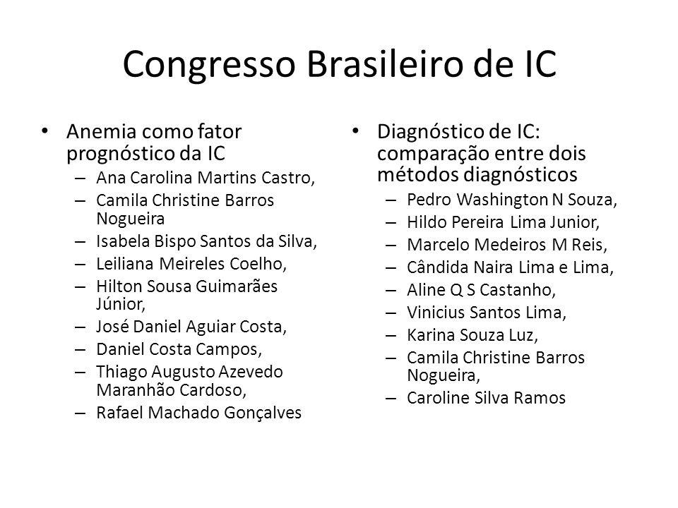 Congresso Brasileiro de IC Anemia como fator prognóstico da IC – Ana Carolina Martins Castro, – Camila Christine Barros Nogueira – Isabela Bispo Santo