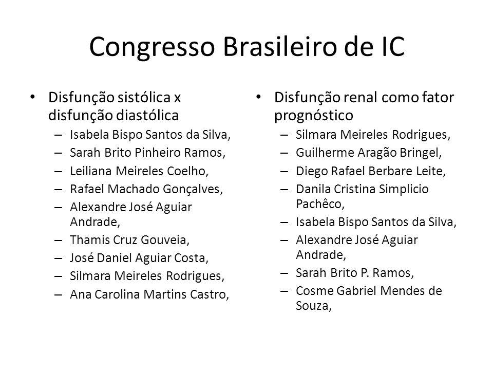 Congresso Brasileiro de IC Disfunção sistólica x disfunção diastólica – Isabela Bispo Santos da Silva, – Sarah Brito Pinheiro Ramos, – Leiliana Meirel