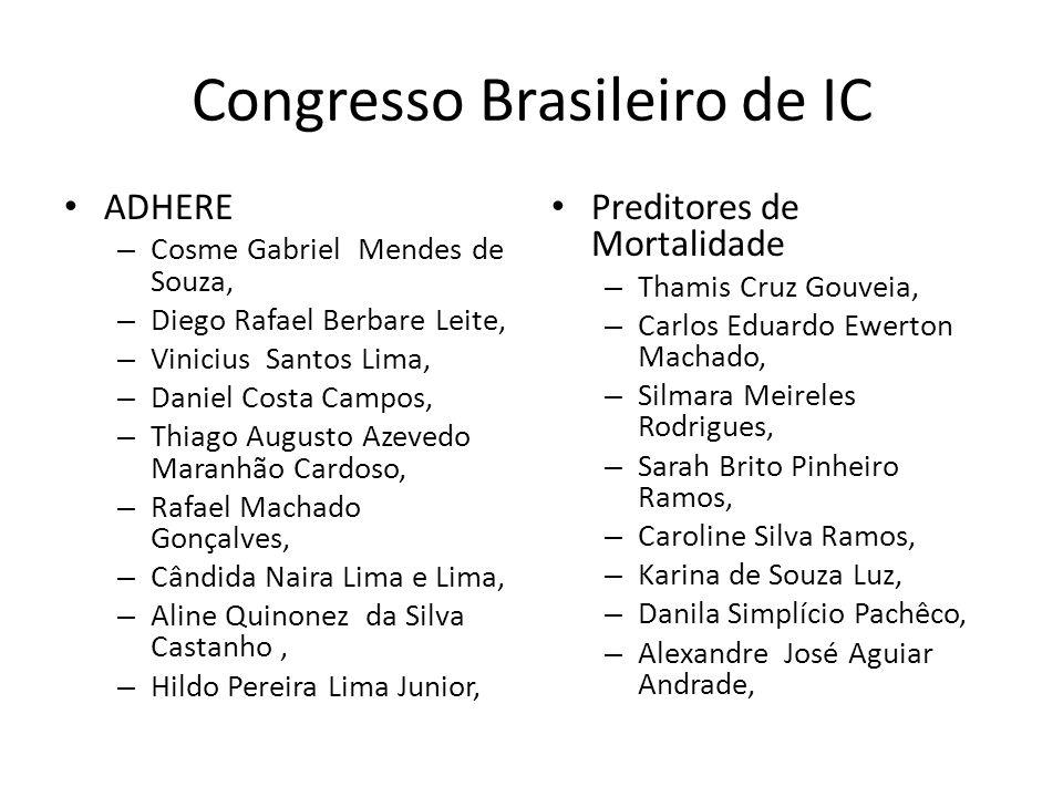 Congresso Brasileiro de IC ADHERE – Cosme Gabriel Mendes de Souza, – Diego Rafael Berbare Leite, – Vinicius Santos Lima, – Daniel Costa Campos, – Thia