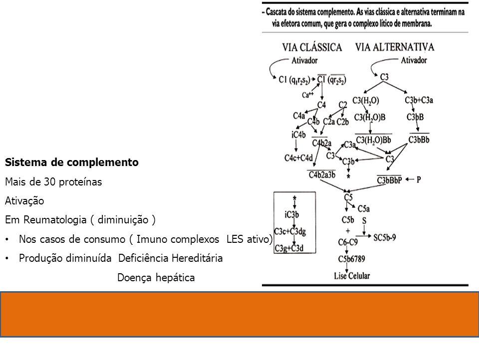 Sistema de complemento Mais de 30 proteínas Ativação Em Reumatologia ( diminuição ) Nos casos de consumo ( Imuno complexos LES ativo) Produção diminuí