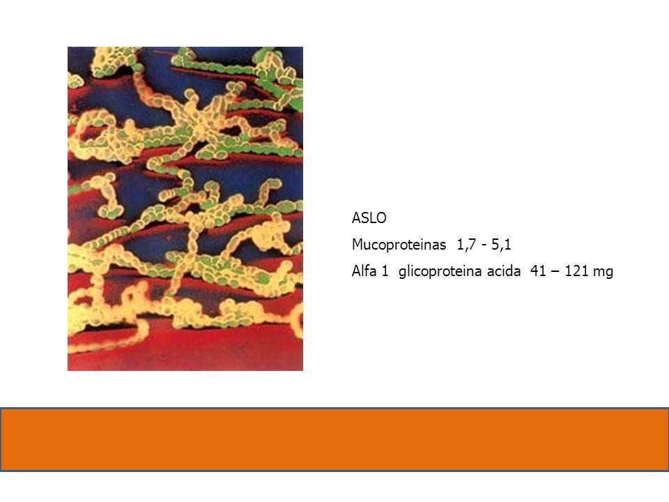 ASLO Mucoproteinas 1,7 - 5,1 Alfa 1 glicoproteina acida 41 – 121 mg