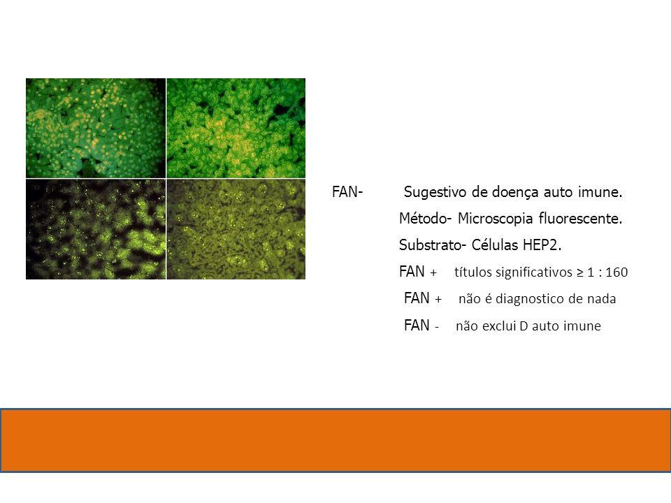 FAN- Sugestivo de doença auto imune. Método- Microscopia fluorescente. Substrato- Células HEP2. FAN + títulos significativos 1 : 160 FAN + não é diagn