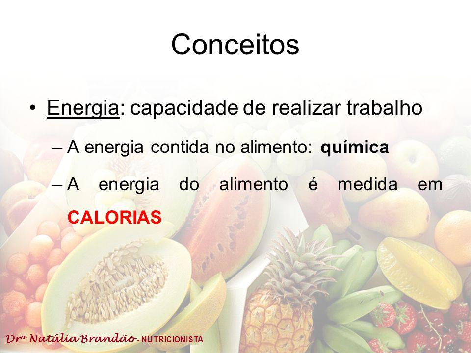 Dr a Natália Brandão - NUTRICIONISTA Conceitos Energia: capacidade de realizar trabalho –A energia contida no alimento: química –A energia do alimento
