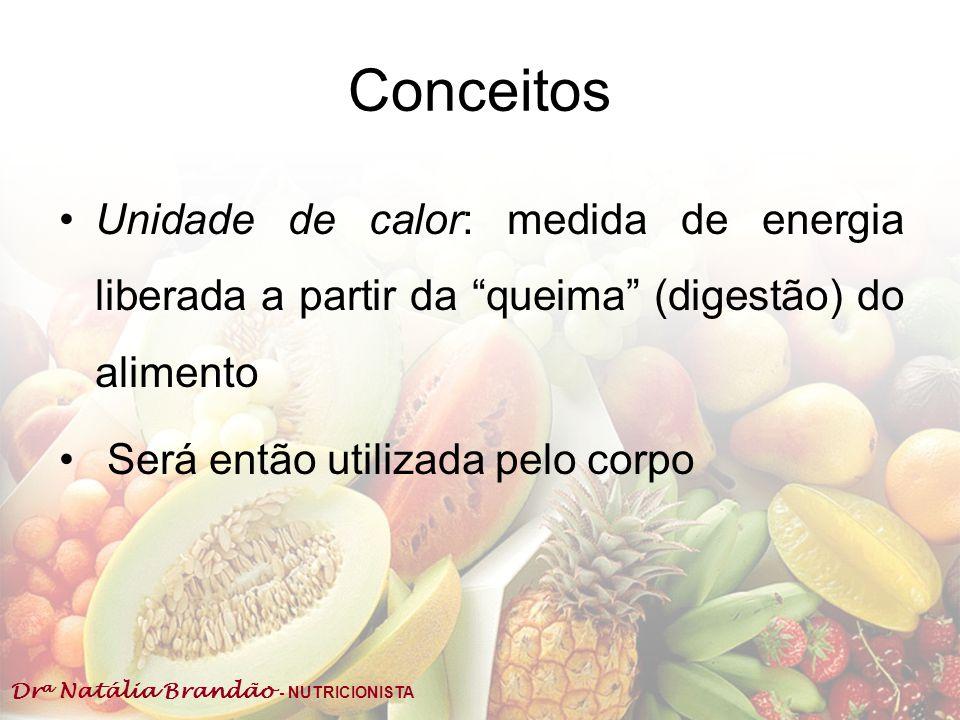Dr a Natália Brandão - NUTRICIONISTA Conceitos Unidade de calor: medida de energia liberada a partir da queima (digestão) do alimento Será então utili