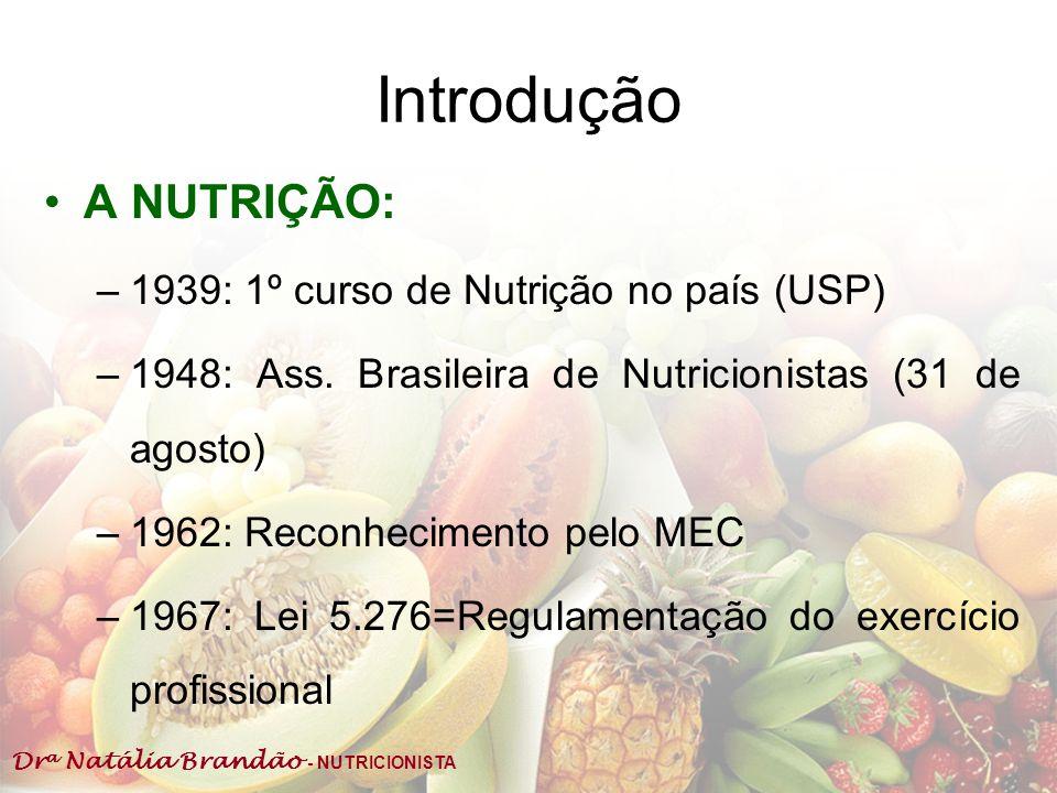 Dr a Natália Brandão - NUTRICIONISTA Introdução A NUTRIÇÃO: –1939: 1º curso de Nutrição no país (USP) –1948: Ass. Brasileira de Nutricionistas (31 de