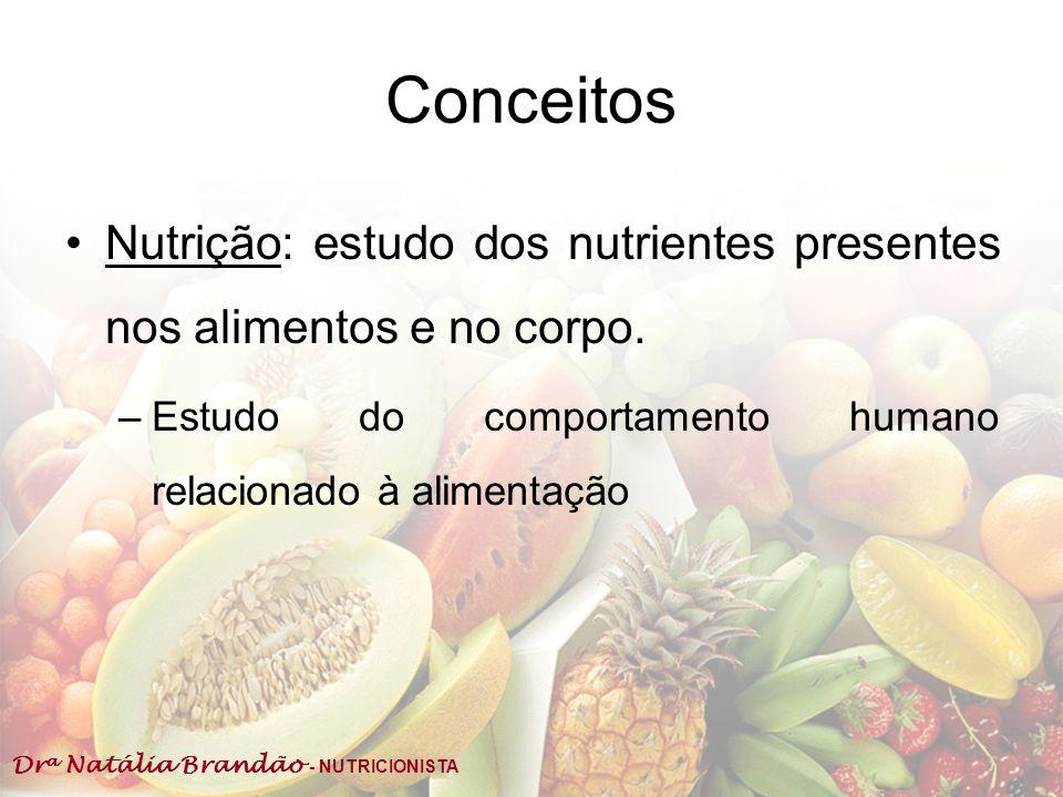 Dr a Natália Brandão - NUTRICIONISTA Conceitos Alimento: substs que, levadas ao tubo digestivo, são degradadas e depois usadas para FORMAR e/ou MANTER os tecidos do corpo, regular processos orgânicos e FORNECER ENERGIA