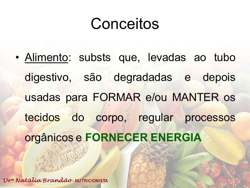 Dr a Natália Brandão - NUTRICIONISTA Conceitos Alimento: substs que, levadas ao tubo digestivo, são degradadas e depois usadas para FORMAR e/ou MANTER