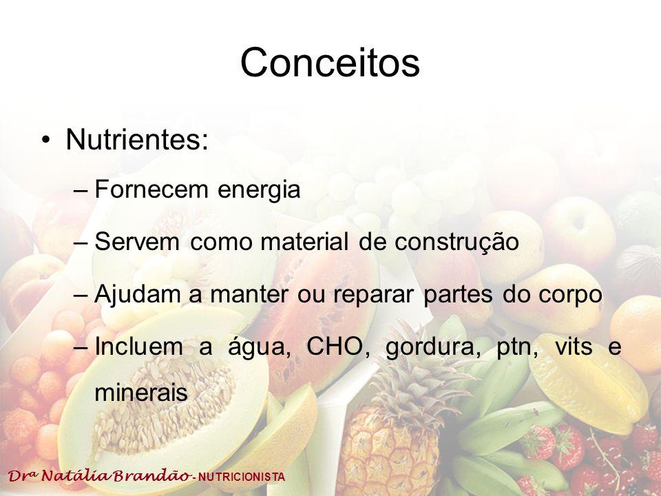 Dr a Natália Brandão - NUTRICIONISTA Conceitos Nutrientes: –Fornecem energia –Servem como material de construção –Ajudam a manter ou reparar partes do