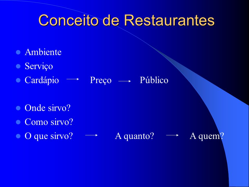 Conceito de Restaurantes Ambiente Serviço Cardápio PreçoPúblico Onde sirvo? Como sirvo? O que sirvo?A quanto?A quem?