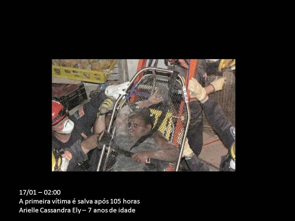 17/01 – 02:00 A primeira vítima é salva após 105 horas Arielle Cassandra Ely – 7 anos de idade