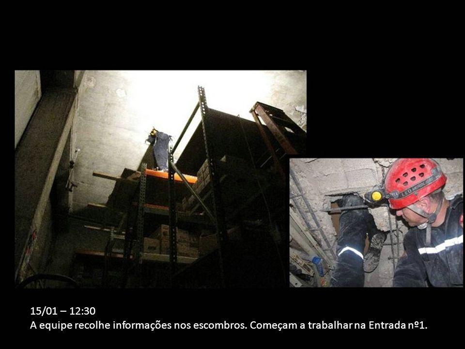15/01 – 12:30 A equipe recolhe informações nos escombros. Começam a trabalhar na Entrada nº1.