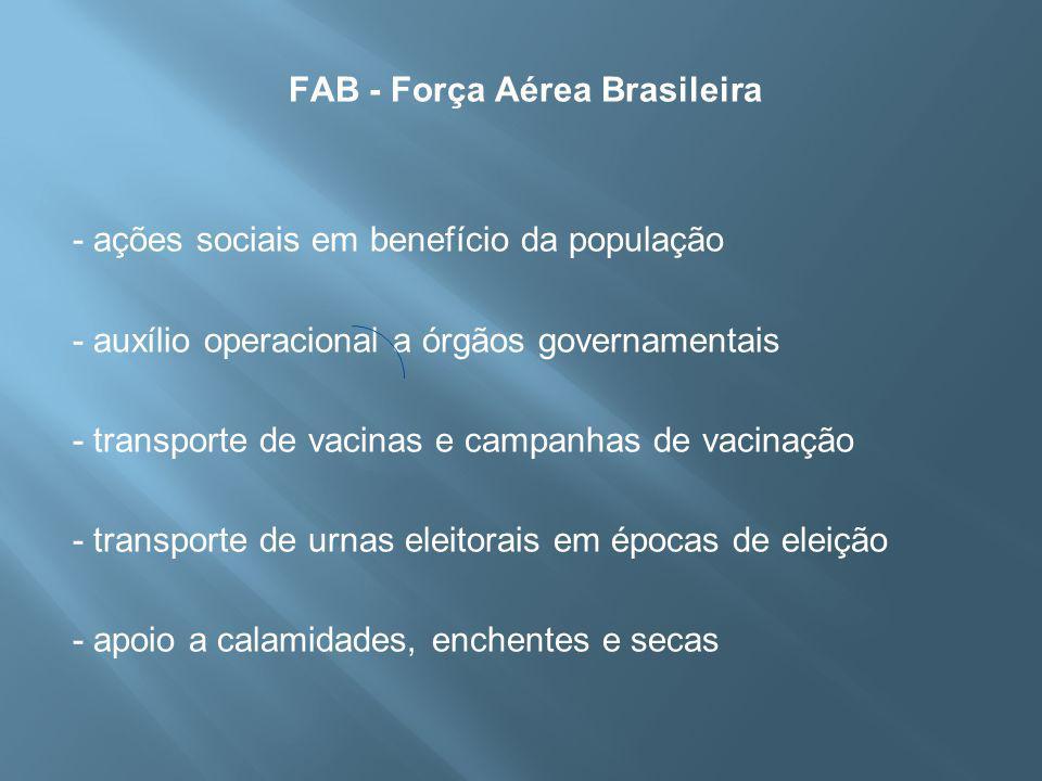 FAB - Força Aérea Brasileira - ações sociais em benefício da população - auxílio operacional a órgãos governamentais - transporte de vacinas e campanhas de vacinação - transporte de urnas eleitorais em épocas de eleição - apoio a calamidades, enchentes e secas