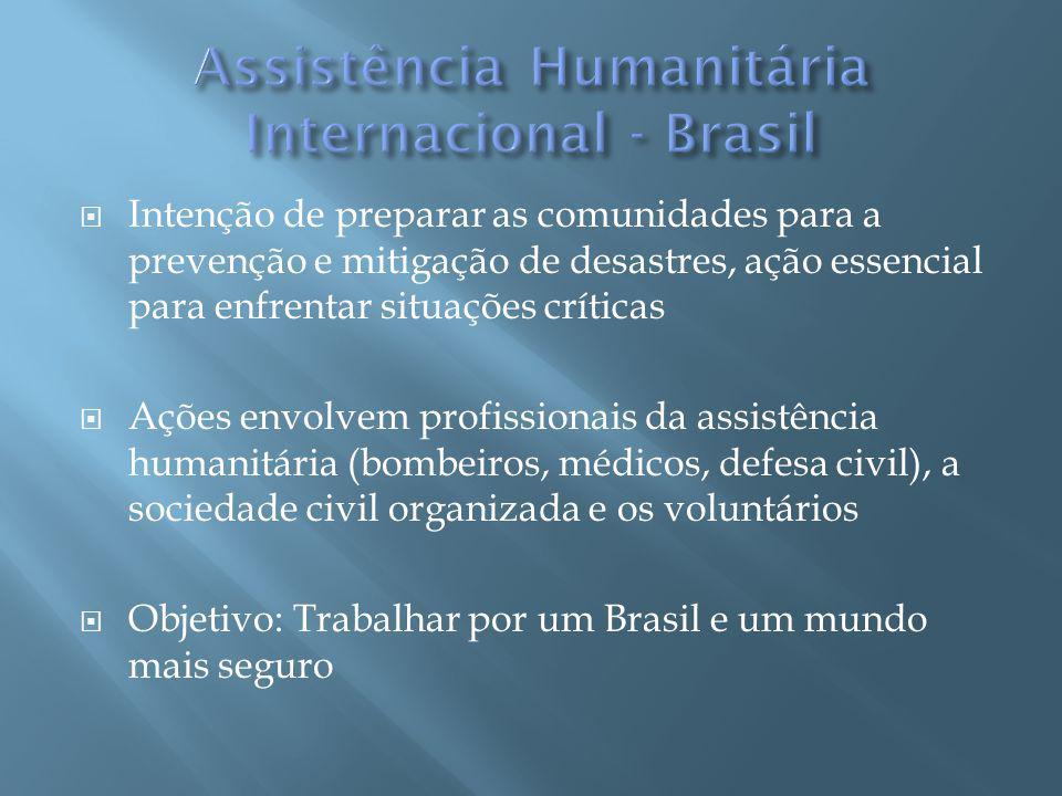 Intenção de preparar as comunidades para a prevenção e mitigação de desastres, ação essencial para enfrentar situações críticas Ações envolvem profissionais da assistência humanitária (bombeiros, médicos, defesa civil), a sociedade civil organizada e os voluntários Objetivo: Trabalhar por um Brasil e um mundo mais seguro