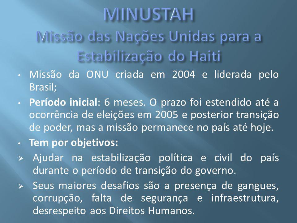 Missão da ONU criada em 2004 e liderada pelo Brasil; Período inicial: 6 meses.