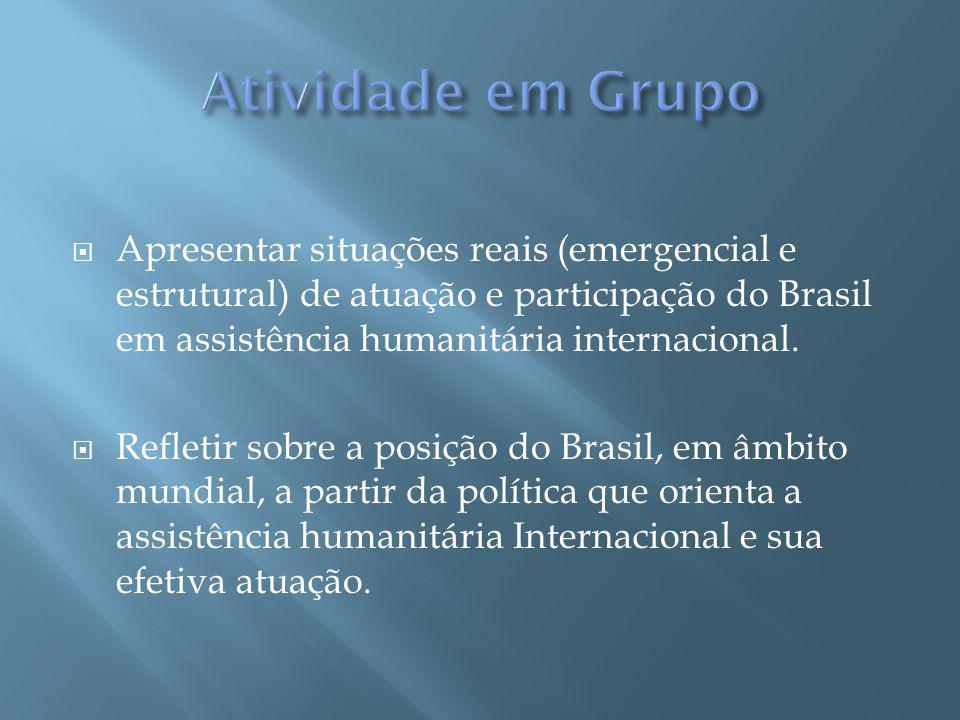 Apresentar situações reais (emergencial e estrutural) de atuação e participação do Brasil em assistência humanitária internacional.