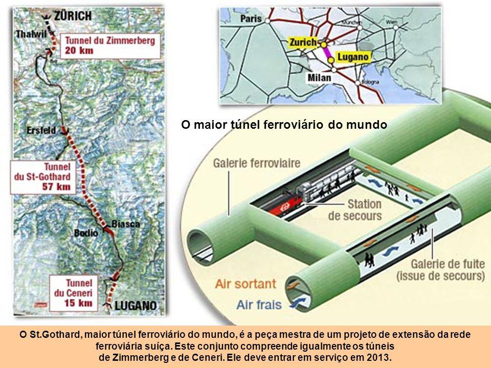 Túnel nas montanhas Suíças Para perfurar o túnel recorre-se a estes