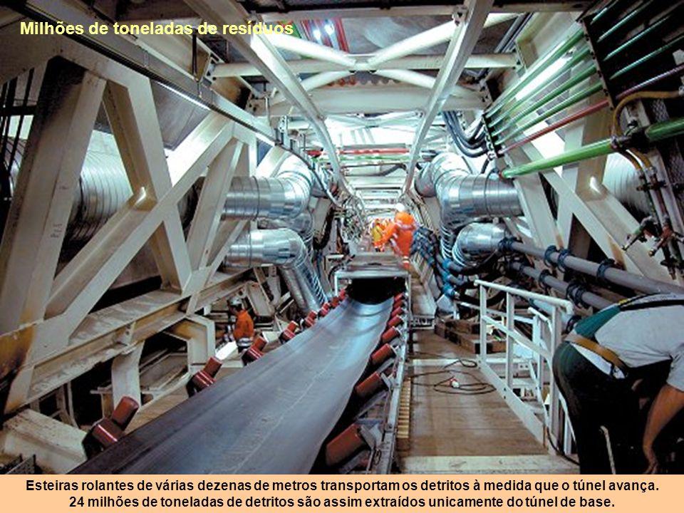 Galerias paralelas O túnel compõe-se de duas galerias paralelas, ligadas por 175 braços de comunicação, ou seja um total de 312m. Potentes ventiladore