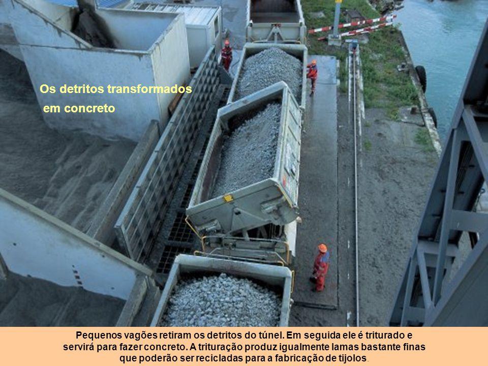 Milhões de toneladas de resíduos Esteiras rolantes de várias dezenas de metros transportam os detritos à medida que o túnel avança. 24 milhões de tone