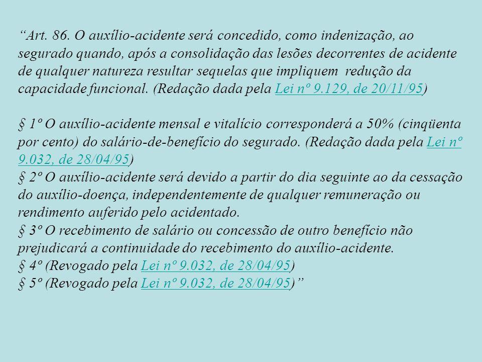 Art. 86. O auxílio-acidente será concedido, como indenização, ao segurado quando, após a consolidação das lesões decorrentes de acidente de qualquer n