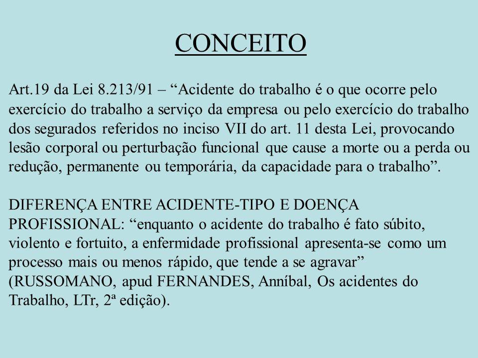 CONCEITO Art.19 da Lei 8.213/91 –Acidente do trabalho é o que ocorre pelo exercício do trabalho a serviço da empresa ou pelo exercício do trabalho dos