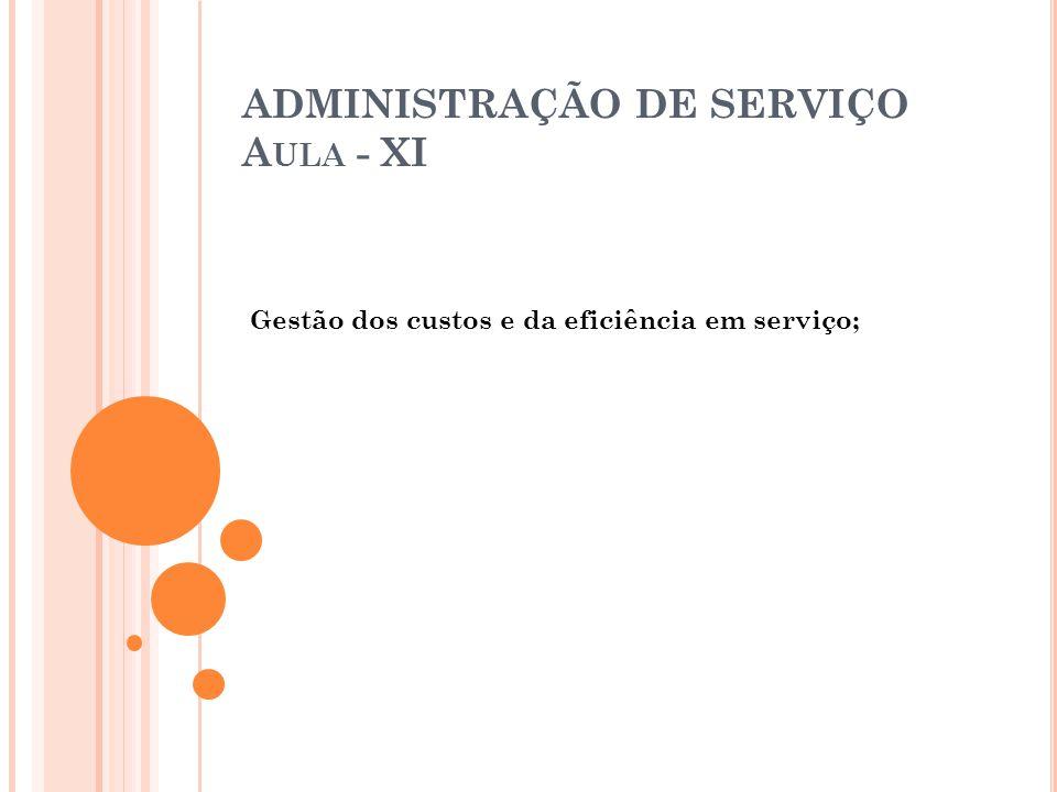 ADMINISTRAÇÃO DE SERVIÇO A ULA - XI Gestão dos custos e da eficiência em serviço;