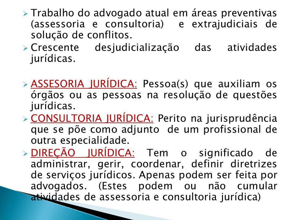 Trabalho do advogado atual em áreas preventivas (assessoria e consultoria) e extrajudiciais de solução de conflitos. Crescente desjudicialização das a