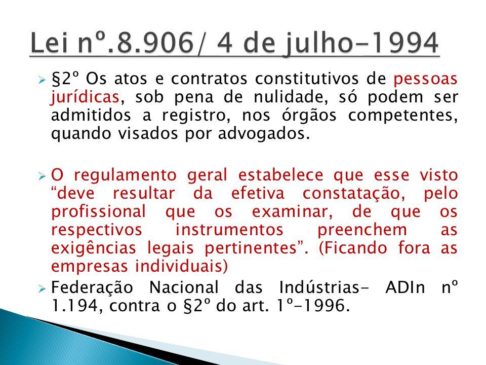 §2º Os atos e contratos constitutivos de pessoas jurídicas, sob pena de nulidade, só podem ser admitidos a registro, nos órgãos competentes, quando vi