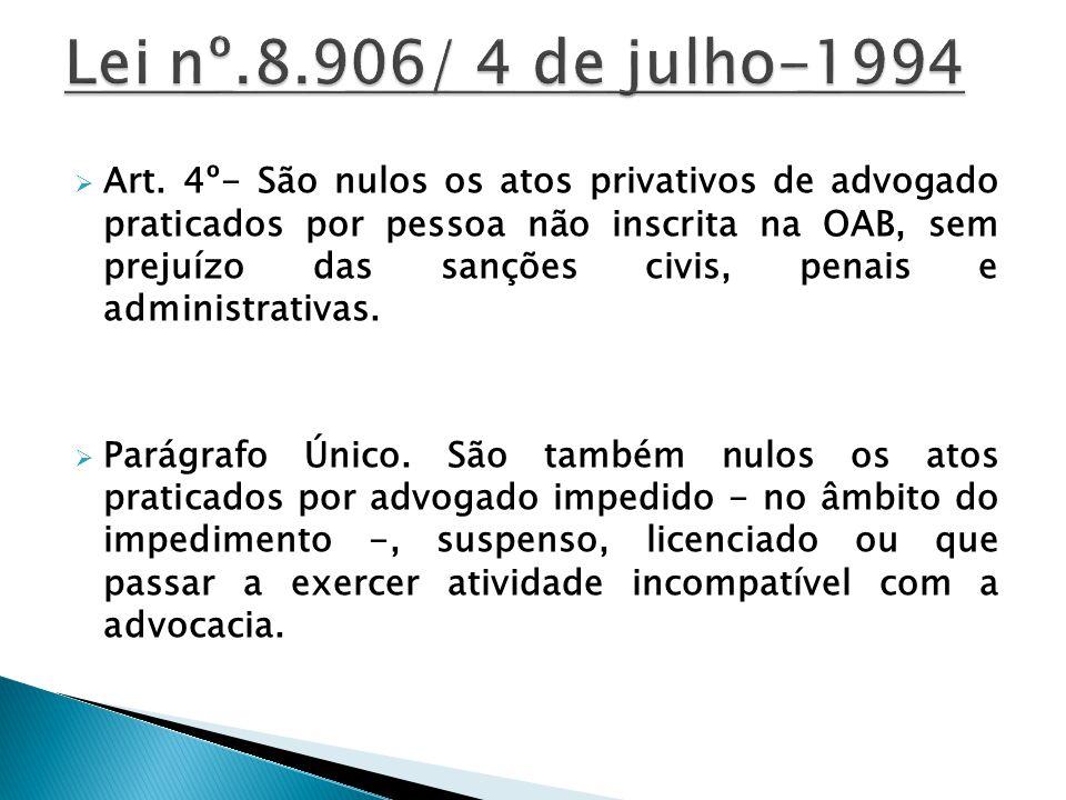 Art. 4º- São nulos os atos privativos de advogado praticados por pessoa não inscrita na OAB, sem prejuízo das sanções civis, penais e administrativas.