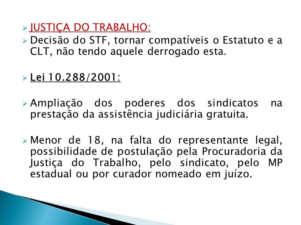 JUSTIÇA DO TRABALHO: Decisão do STF, tornar compatíveis o Estatuto e a CLT, não tendo aquele derrogado esta. Lei 10.288/2001: Ampliação dos poderes do