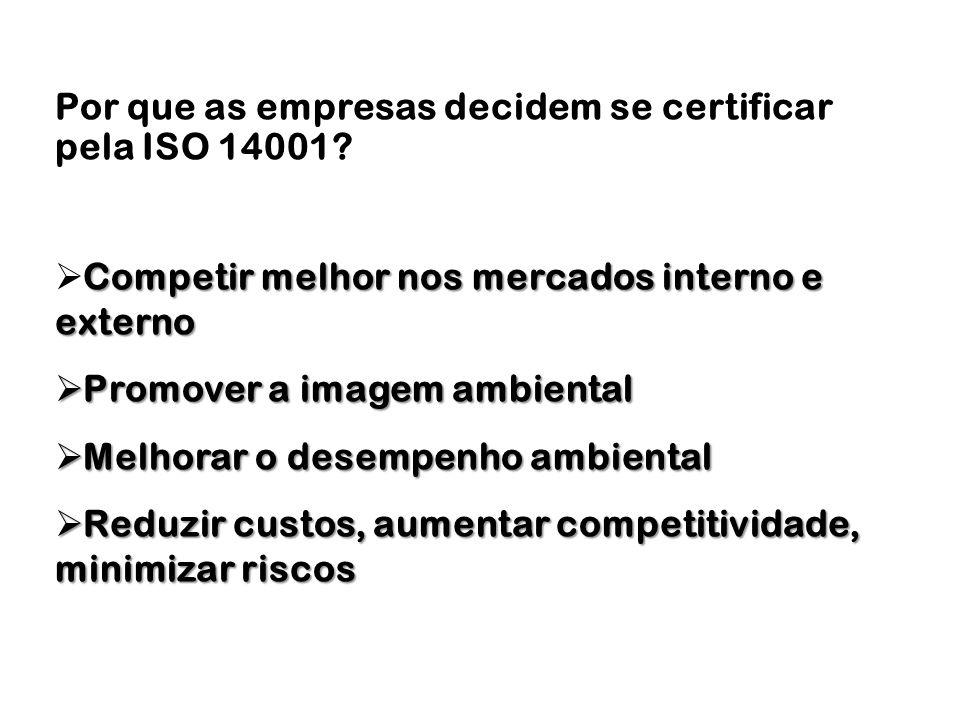 Por que as empresas decidem se certificar pela ISO 14001? Competir melhor nos mercados interno e externo Promover a imagem ambiental Promover a imagem