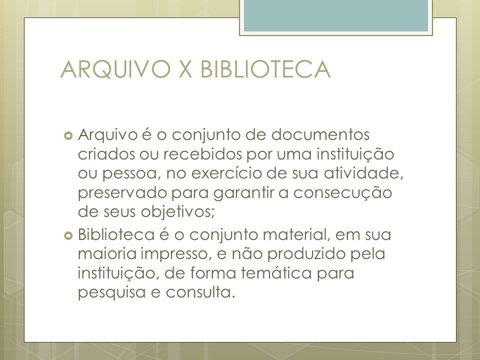 ARQUIVO X BIBLIOTECA Arquivo é o conjunto de documentos criados ou recebidos por uma instituição ou pessoa, no exercício de sua atividade, preservado