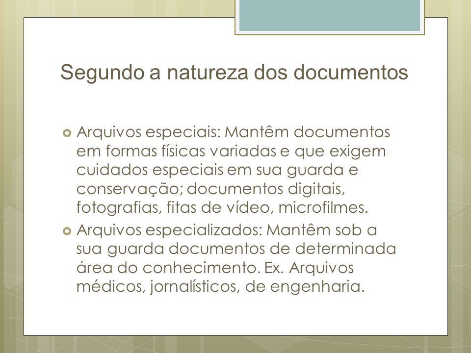 Segundo a natureza dos documentos Arquivos especiais: Mantêm documentos em formas físicas variadas e que exigem cuidados especiais em sua guarda e con