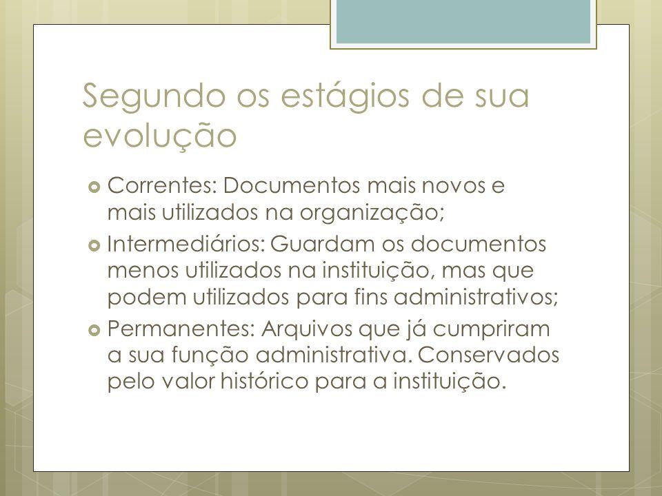 Segundo os estágios de sua evolução Correntes: Documentos mais novos e mais utilizados na organização; Intermediários: Guardam os documentos menos uti