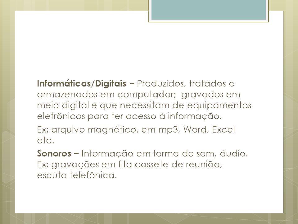 Informáticos/Digitais – Produzidos, tratados e armazenados em computador; gravados em meio digital e que necessitam de equipamentos eletrônicos para t