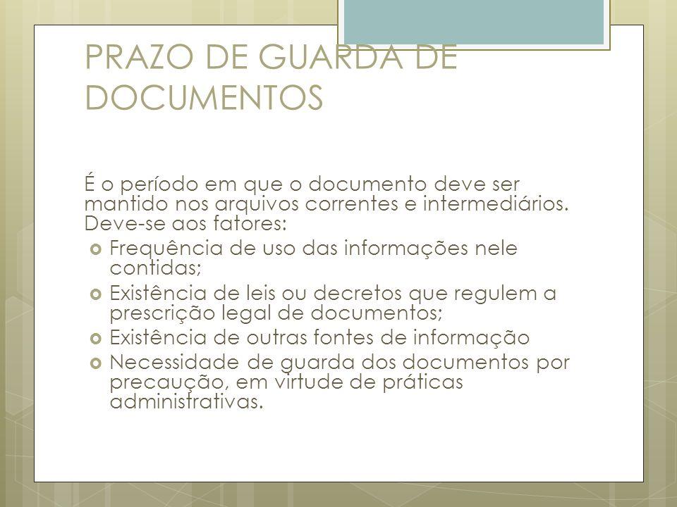 PRAZO DE GUARDA DE DOCUMENTOS É o período em que o documento deve ser mantido nos arquivos correntes e intermediários. Deve-se aos fatores: Frequência