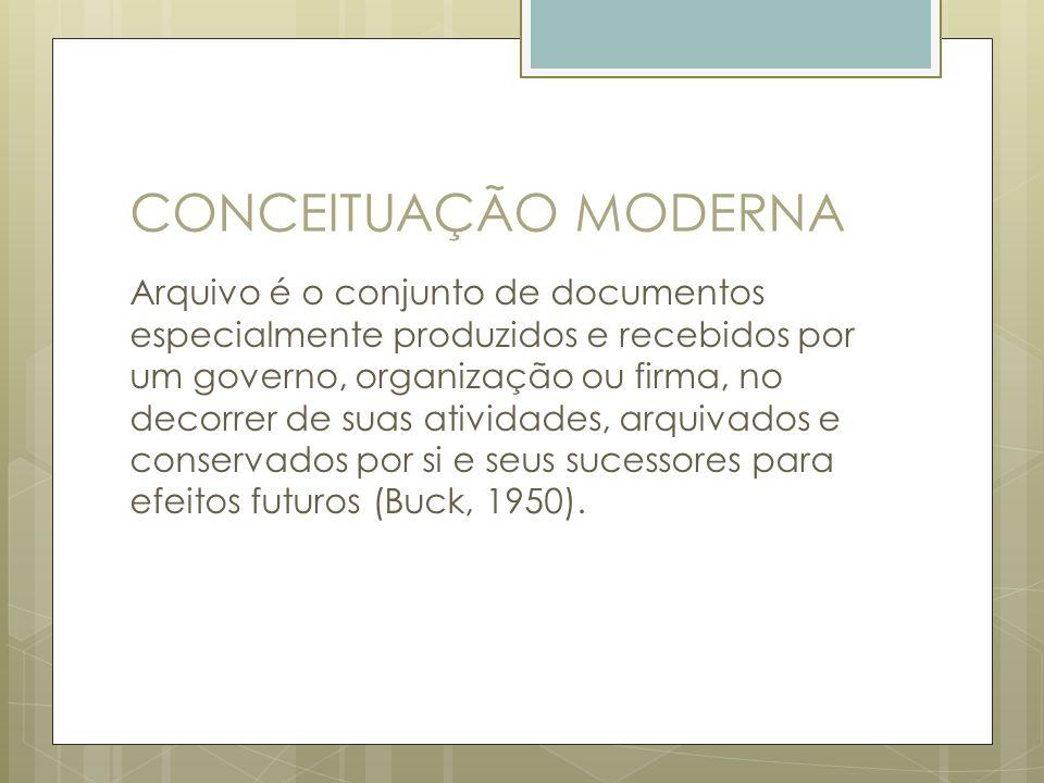 CONCEITUAÇÃO MODERNA Arquivo é o conjunto de documentos especialmente produzidos e recebidos por um governo, organização ou firma, no decorrer de suas