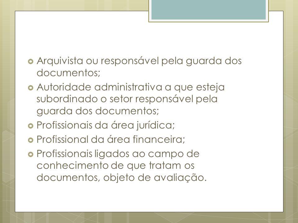 Arquivista ou responsável pela guarda dos documentos; Autoridade administrativa a que esteja subordinado o setor responsável pela guarda dos documento