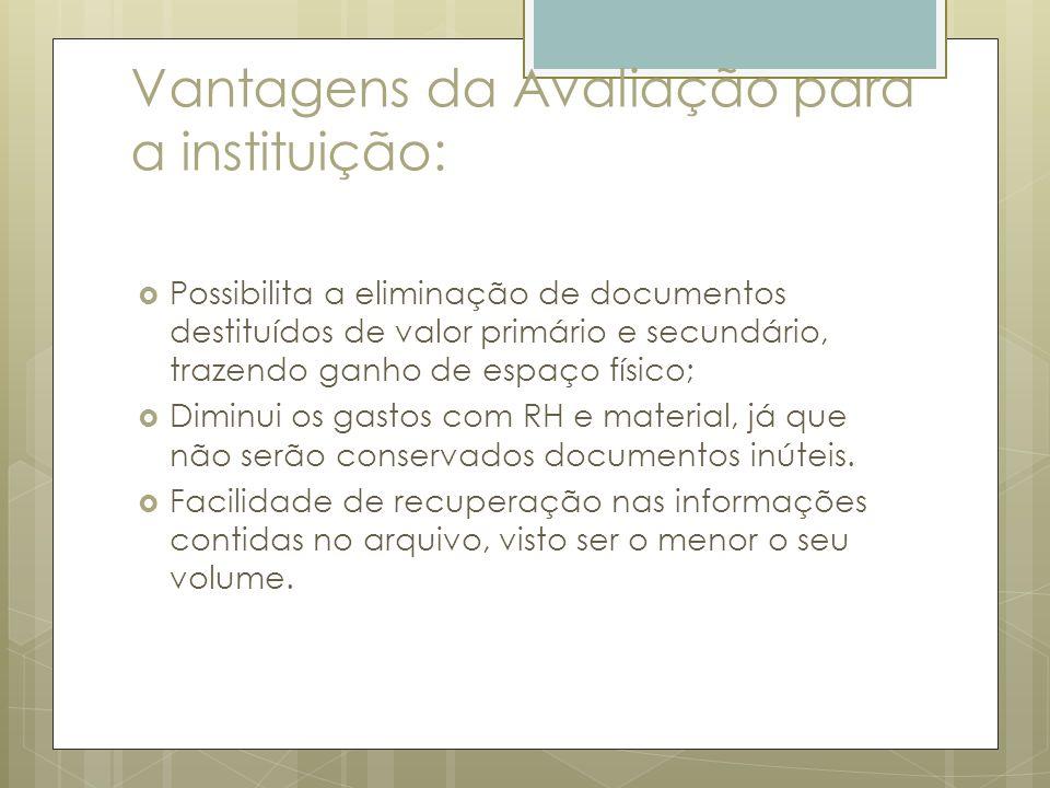 Vantagens da Avaliação para a instituição: Possibilita a eliminação de documentos destituídos de valor primário e secundário, trazendo ganho de espaço