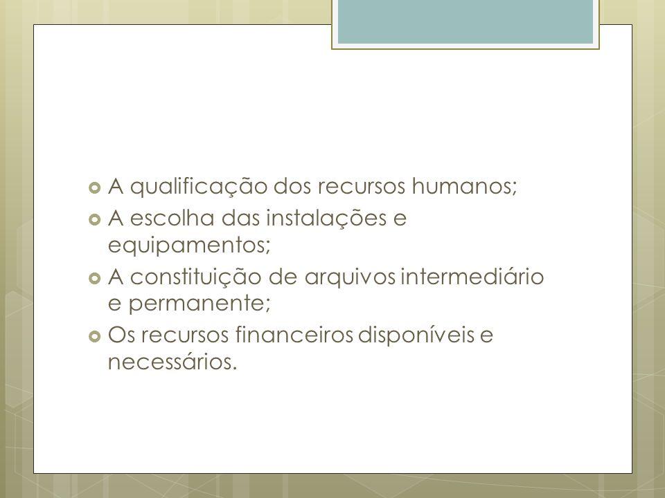 A qualificação dos recursos humanos; A escolha das instalações e equipamentos; A constituição de arquivos intermediário e permanente; Os recursos fina