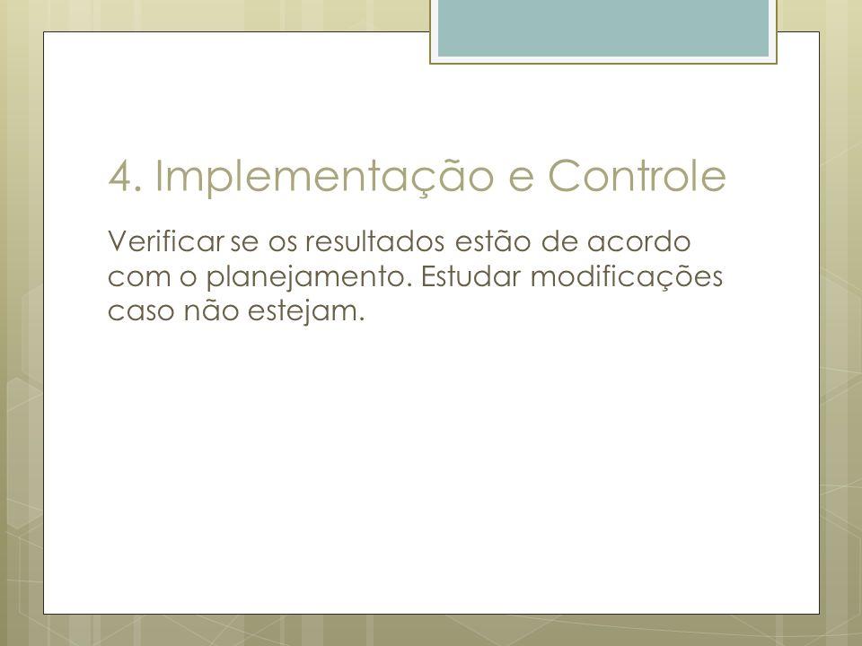 4. Implementação e Controle Verificar se os resultados estão de acordo com o planejamento. Estudar modificações caso não estejam.