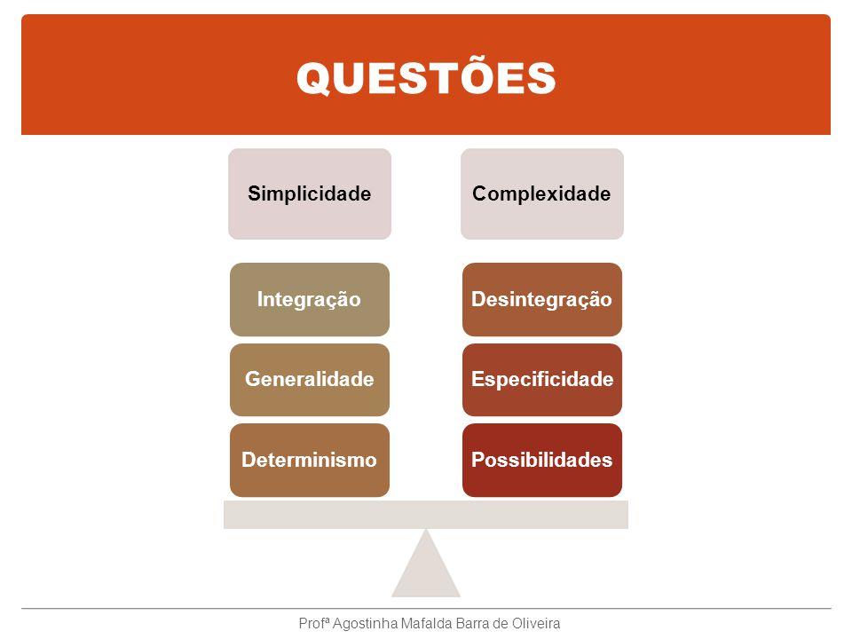 QUESTÕES SimplicidadeComplexidade PossibilidadesEspecificidadeDesintegraçãoDeterminismoGeneralidadeIntegração Profª Agostinha Mafalda Barra de Oliveira