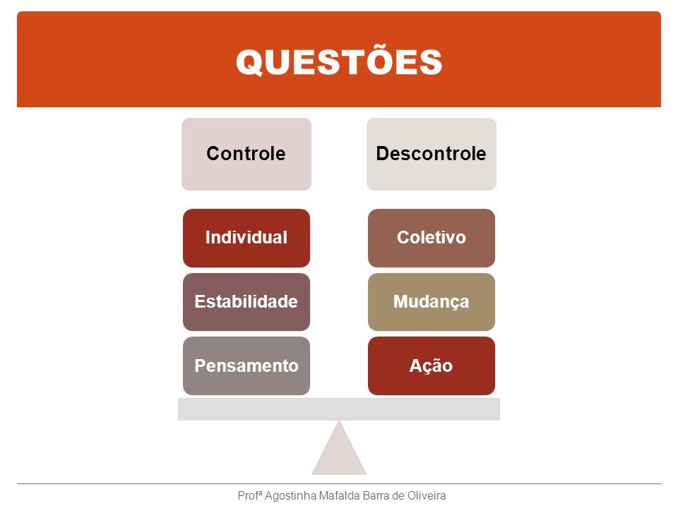QUESTÕES ControleDescontrole AçãoMudançaColetivoPensamentoEstabilidadeIndividual Profª Agostinha Mafalda Barra de Oliveira