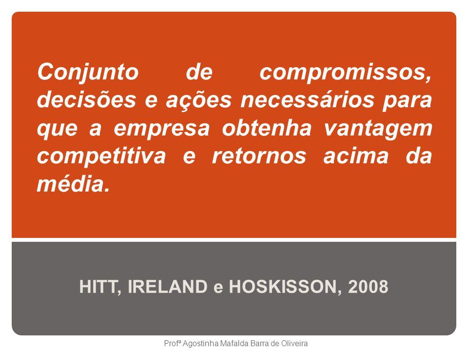 Conjunto de compromissos, decisões e ações necessários para que a empresa obtenha vantagem competitiva e retornos acima da média. HITT, IRELAND e HOSK