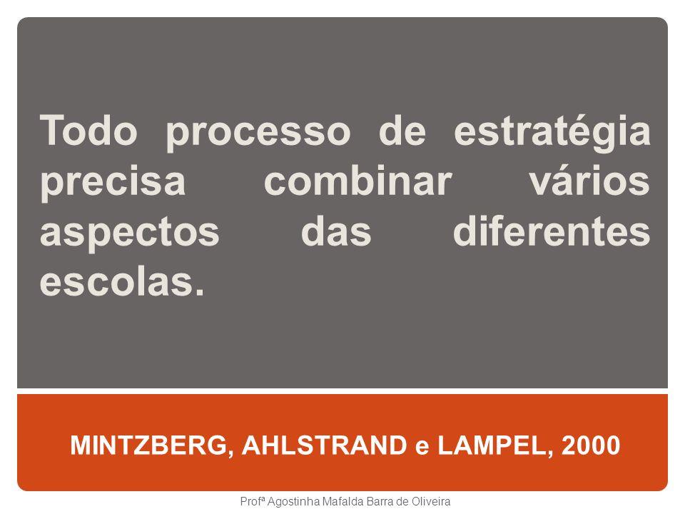 Todo processo de estratégia precisa combinar vários aspectos das diferentes escolas. MINTZBERG, AHLSTRAND e LAMPEL, 2000 Profª Agostinha Mafalda Barra