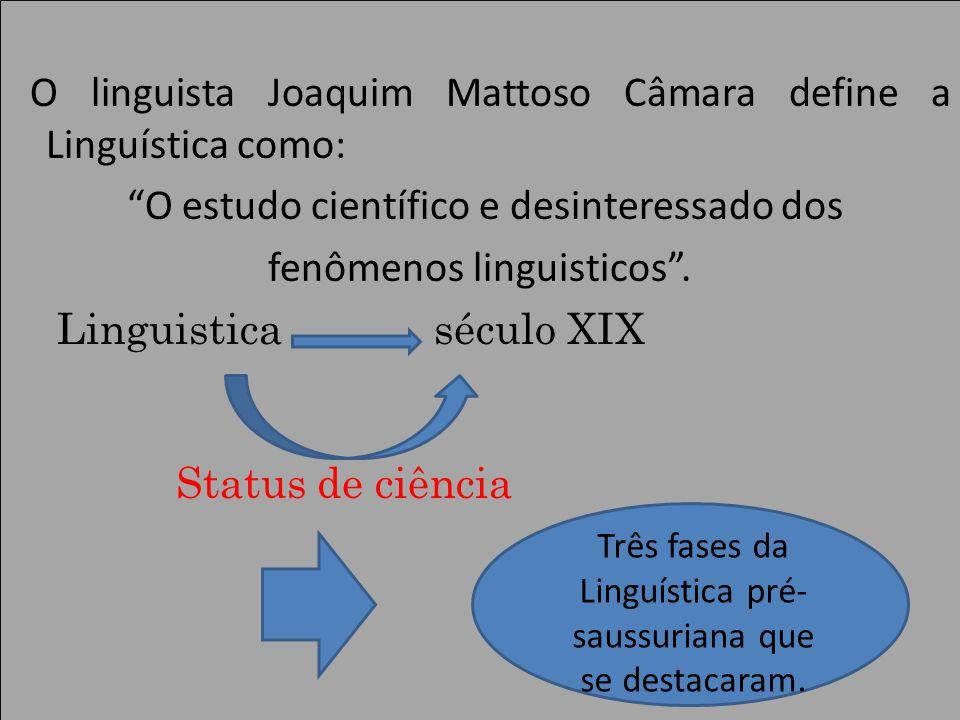 O linguista Joaquim Mattoso Câmara define a Linguística como: O estudo científico e desinteressado dos fenômenos linguisticos.