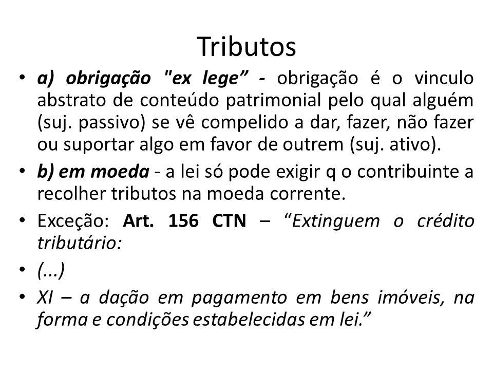 Tributos a) obrigação ex lege - obrigação é o vinculo abstrato de conteúdo patrimonial pelo qual alguém (suj.
